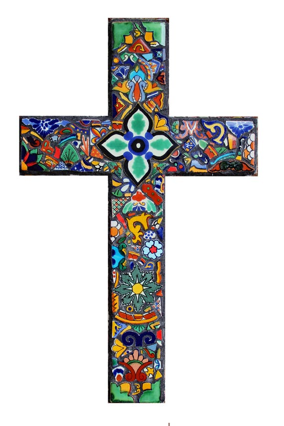 Mosaic Cross Made with Talavera Tiles Ready to Ship