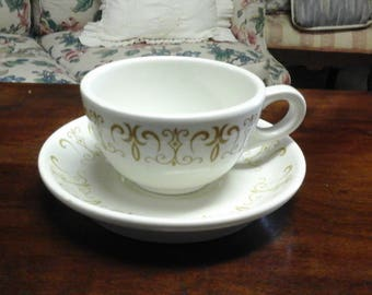 Vintage Homer Laughlin Gold Scroll Cup and Saucer