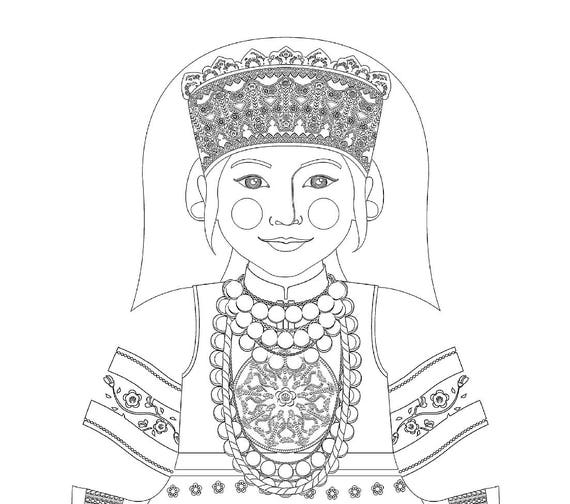 Seto, Estonian Doll Traditional Dress Coloring Sheet Printable