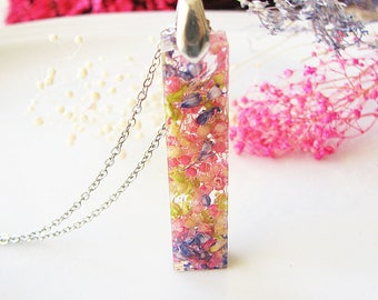 Bar Necklace Resin Jewelry Real Flower Necklace Resin Necklace Bar Jewelry Pressed Flower Jewelry Baby Breath Necklace Real Flower Jewelry