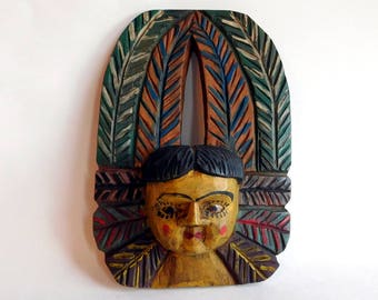 Vintage / Antique Guatamalan Hand-Carved and Painted Polychrome Angel Wall Plaque - Rustic Folk Art Angel - Primitive Ethnic Carving