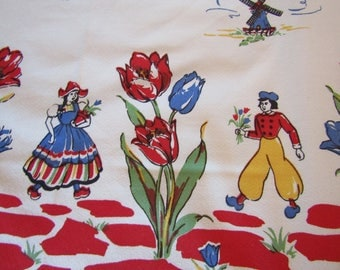 """New Vintage Tablecloth Swedish Hand Printed 50"""" square"""