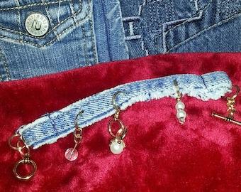 Denim Jean Detachable fashion jewelry pearl ring Charm Bracelet Jean Bracelet Denim Blue Jean Charm Bracelet, frayed