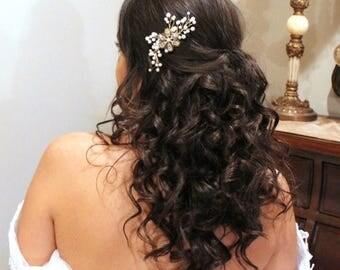 SALE Bridal hair comb, Bridal headpiece, Bridal hair vine, Wedding hair comb, Gold headpiece, Pearl hair comb, Bridal hair clip, Golden shad