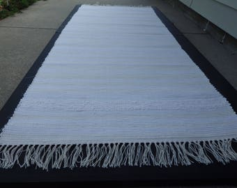 "Hand Crafted Rag Rug White with Border 25"" x 68"""