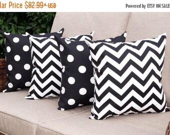 Chevron Black and White and Polka Dot Black and White Lumbar Outdoor Throw Pillow free shipping