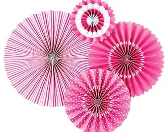 Bubblegum Pink Party Fans - Party Paper Fans - Pink Party Decor - Paper Fan Backdrop - Pink Backdrop - Pink Pinwheel - Paper Rosettes PLCP01