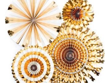 Basic Gold Party Fans - Gold Wedding Decor - Gold Party decor- Paper Rosette Backdrop - Paper Fan -Pinwheel Backdrop -Baptism Decorations