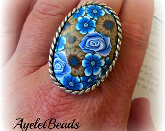 Large blue flowers , handmade, one of a kind Ring