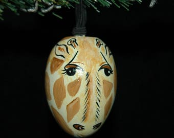 Giraffe Ornament - Hand Painted- Personalized - Solid Wood