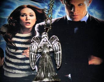 Summer SALE Double Sided Weeping Angel Necklace inspired from Doctor Who Don't Blink!