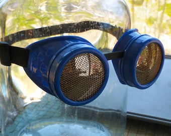 Steampunk Goggles, blue frame, brass screen lens covers, welding, eye protection glasses, lightning pirate, cosplay, mad science supply