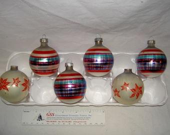 Vintage Plaid & Poinsettia Christmas Ornaments