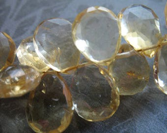 CITRINE Pear Briolettes, Luxe AAA, 15-18 mm, Golden Honey Yellow, faceted, november birthstone 1518
