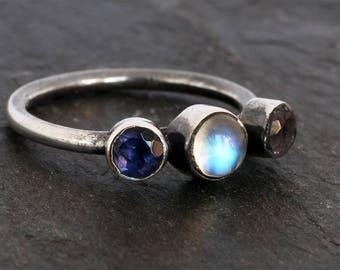 Moonstone Ring - Rainbow Moonstone Ring - Size 7 - Iolite Ring - Sterling Silver Ring - Blue - Handmade - June Birthstone - Xmas Gift