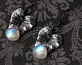 Moonstone Earrings - Sterling Silver Earrings - Moonstone Jewelry - Leaf Earrings - Rainbow Moonstone Earrings - June Birthstone - Natural