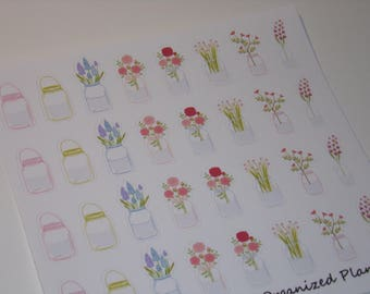 32 Mason Jar Flower Stickers