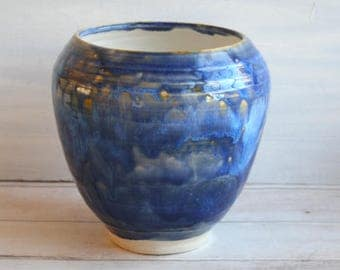 """Large Ceramic Vase with Rustic Blue """"Starry Night"""" Glaze Handcrafted Pottery Vase Artfully Crafted Made in USA Ready to Ship"""