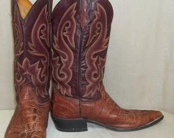ON SALE Vintage Mens Rudel Crocodile Leather Cowboy Western Boots 8 E