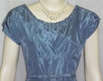 ON SALE Vintage 1940's Leslie Fay Blue Taffeta Full Circle Prom Party Dress Bolero Medium