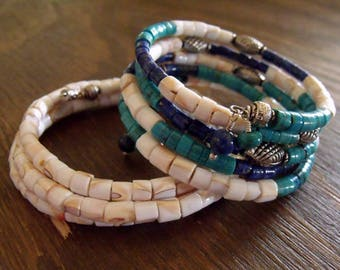 "Wrap Bracelets, Set of Two Bracelets with Turquoise, Lapis Lazuli and Natural Shell on Memory Wire ""Summer Breeze"""