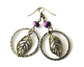 Bronze Leaf and Hammered Hoop Dangle Earrings   Hippie Boho Style Earrings for Women   Lightweight Jewelry   Gift for Her