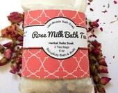 Rose Milk Bath Soak - Tub Tea - Natural Organic ingredients- Perfect little thank you gift/ 2 convenient tea bags