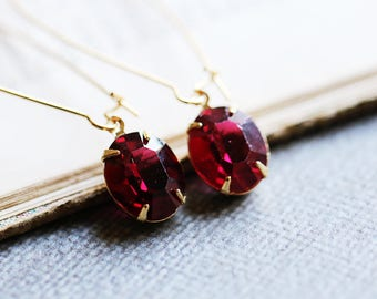 1920s Drop Earrings | July Birthstone Jewelry | Ruby Crystal | Bridesmaid Gift Idea | Downton Abbey | Gatsby Earrings | Red Swarovski Oval