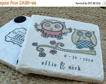 XMASINJULYSale Personalized Owl Wedding Gift - Opal and Oliver the Owl Tile Coasters - Woodland Home Dcor