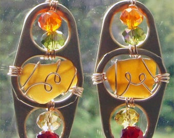Sea Glass Earrings for the Autumn Season, in Fall Colors