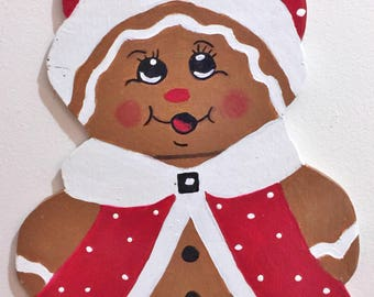 GingerBread Girl Coat Hat Christmas Sign Or Wreath