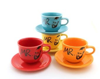 Mr. Tea Teacup and saucer upcycled cup and plate with Mr. T, gift for tea lover, tea drinker, choice of colors, tea sets