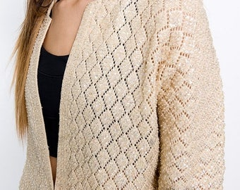 40% SUMMER SALE The Vintage Beige Beaded Cardigan Sweater