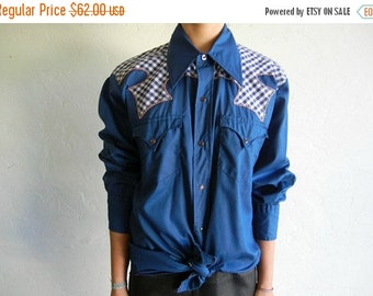 40% OFF Blue Gingham Print Patchwork Western-Style Buttondown Shirt