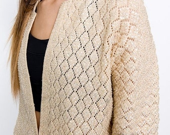 40% OFF The Vintage Beige Beaded Cardigan Sweater