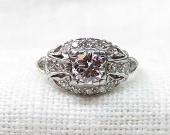 Art Deco Engagement Ring in Platinum and Diamonds; Vintage Diamond Ring; 1930s Platinum Promise Ring; Natural Diamonds; Natural Gemstones