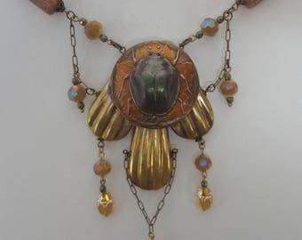 Egyptian Revival Scarab Necklace
