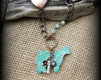 """Kiln Fired Pottery Pendant, Cattle Jewelry, Show Steer, Show Heifer, Livestock Bead/Chain  Necklace, Approx 28"""" (end to end)"""