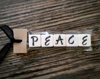 PEACE Tumbled Stone miniMagnet Word Strip