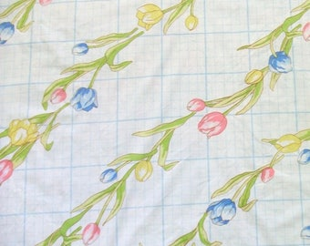 Full Flat Sheet with Diagonal Rows of Tulips by Sears