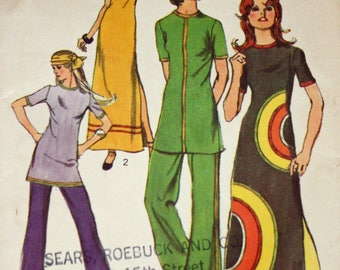 "Vintage 1970s Sewing Pattern, Simplicity 9488, Misses' Dress or Tunic and Pants, Misses' Size 16, Bust 38"", Designed for Knit Fabric"