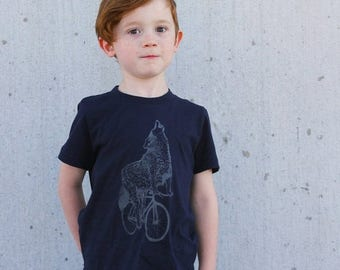SUMMER SALE Wolf on a Bicycle -  Kids T Shirt, Children Tee, Tri Blend Tee, Handmade graphic tee, sizes 2-12