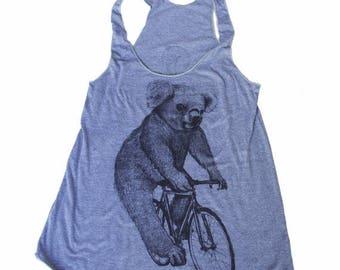 SUMMER SALE Koala on a Bicycle -  Womens Tank top, Ladies Tank top, Tri Blend Tank, Handmade graphic tee, sizes s-xL