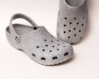 Glitter - Sterling Silver Clayman Slip On Crocs Clogs Casual Shoes