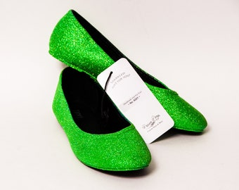 Ready 2 Ship - Size 9 Glitter Lime Green Ballet Flats Slippers Shoes