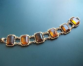 Vintage Sarah Coventry Amber Glass Panel links Bracelet