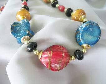 Multi colored Beaded Necklace, Handpainted, Pink, Teal, Yellow, Black, Gold 1980s