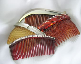 Vintage Hair Combs, Rhinestone, Faux Tortoise, Plastic, 1930's 1950's, Lot of 4, Hair Accessory