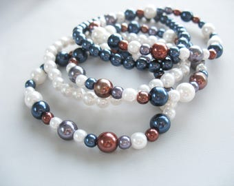 Beaded Stretch Bracelets, Pearls, Set of 5, Faux Pearls, Navy Blue, Bronze, Cream, One size fits all