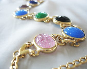 Scarab Choker Necklace, Glass Scarabs, Gold Plated, Green, Pink, Blue, Black, Purple, Double Links, 1950s